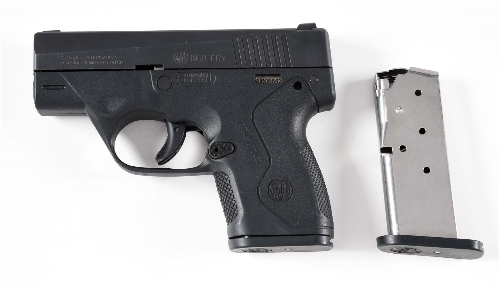 (M) BERETTA NANO SEMI-AUTOMATIC PISTOL WITH PLAIN BLACK SLEEVE AND EXTRA MAGAZINE.