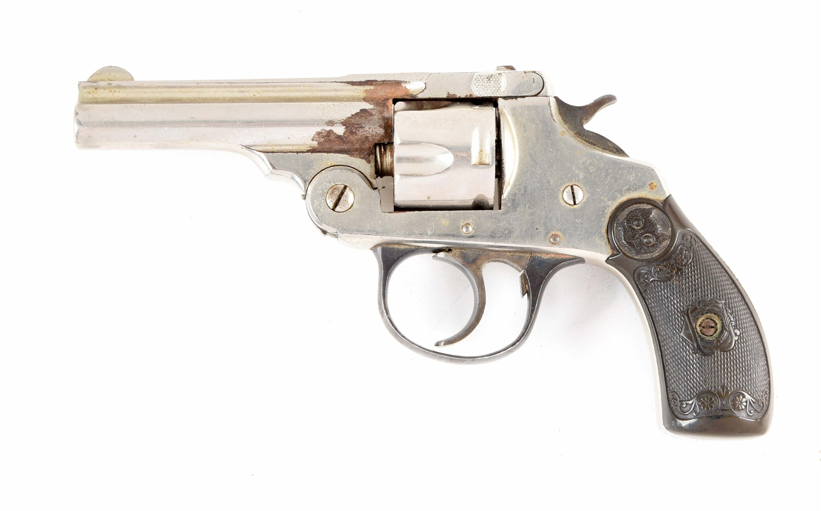 (A) IVER JOHNSON FIRST MODEL SAFETY AUTOMATIC DOUBLE ACTION REVOLVER.