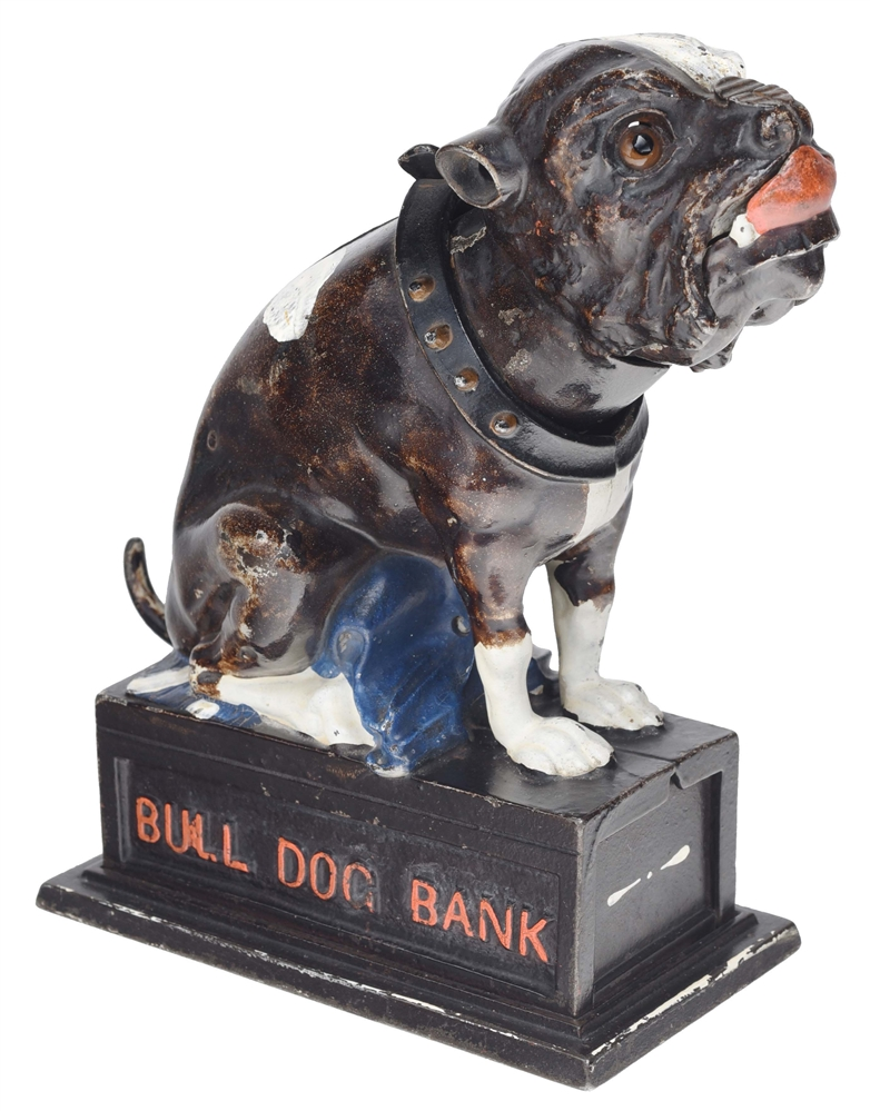 BULL DOG PULL TAIL MECHANICAL BANK.