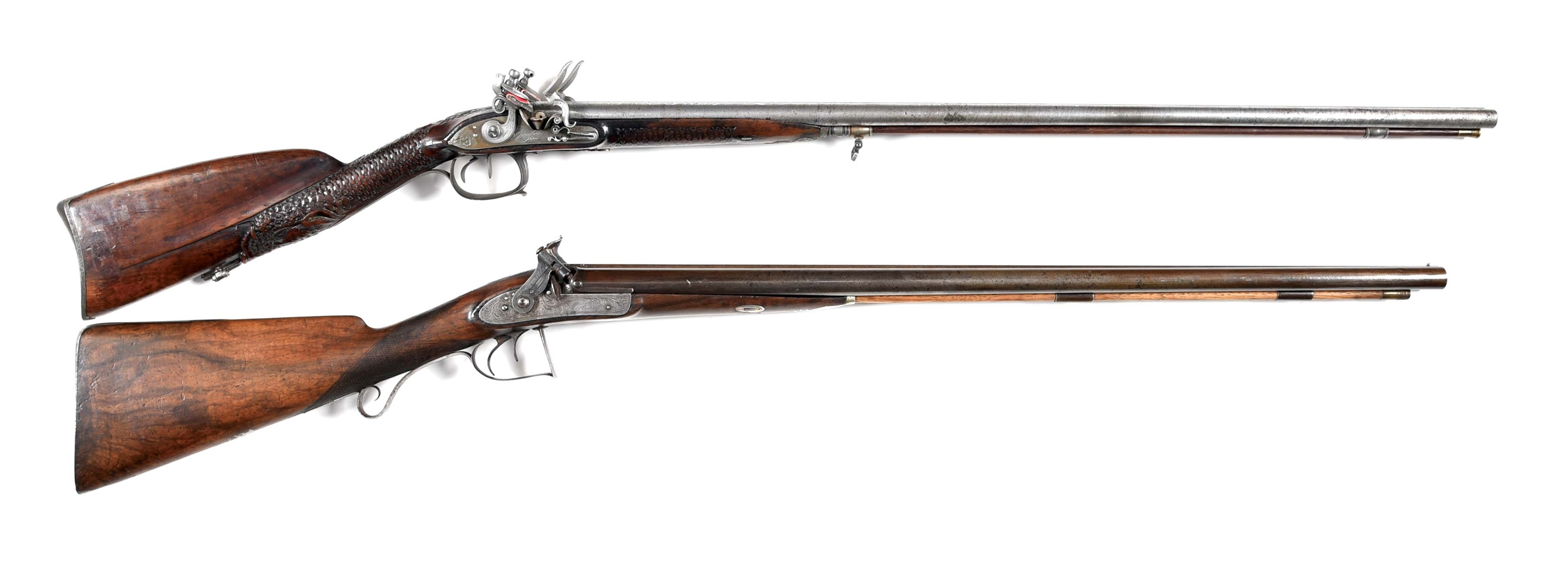 (A) LOT OF 2: GODBERT FIGURAL CARVED FLINTLOCK AND ENGLISH MORTIMER PERCUSSION SIDE BY SIDE SHOTGUNS.