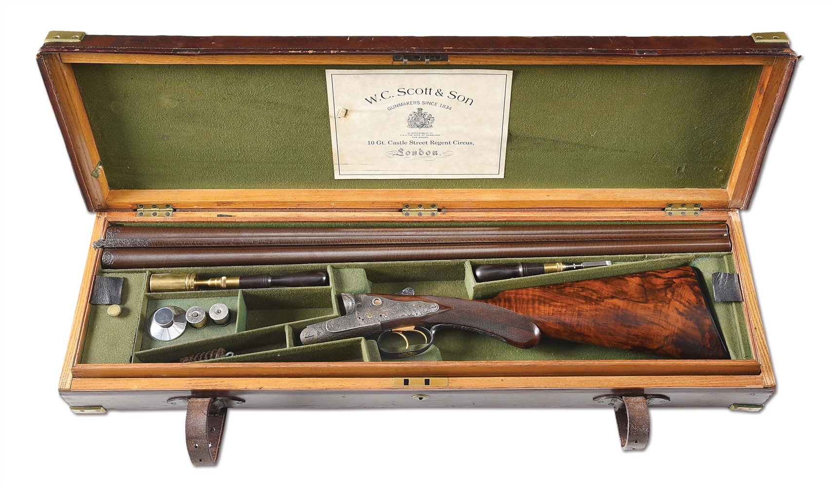 (A) RARE AND DESIRABLE WC SCOTT PREMIER EXTRA SPECIAL SIDE BY SIDE SHOTGUN WITH CASE.
