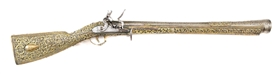 (A) A VERY SHOWY OTTOMAN BLUNDERBUSS WITH GILDED SILVER STOCK, OF THE KIND GIVEN TO MIDDLE EASTERN SULTANS.