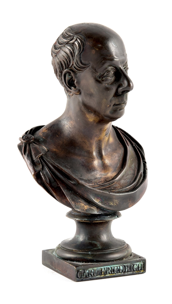 1818 DATED SMALL BRONZE BUST OF FRIEDRICH OF BADEN, SIGNED JOS KAYSER.