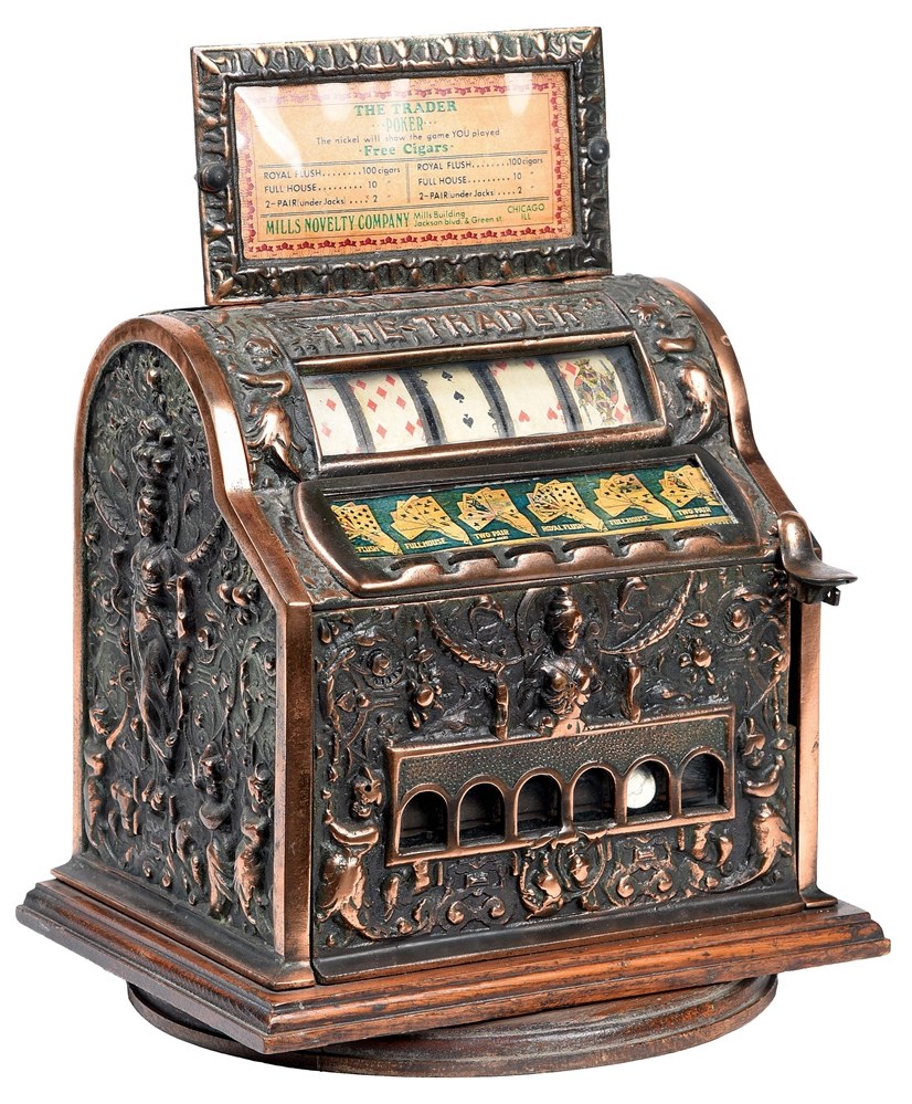 1¢ MILLS NOVELTY CO. THE TRADER CIGAR POKER TRADE STIMULATOR.