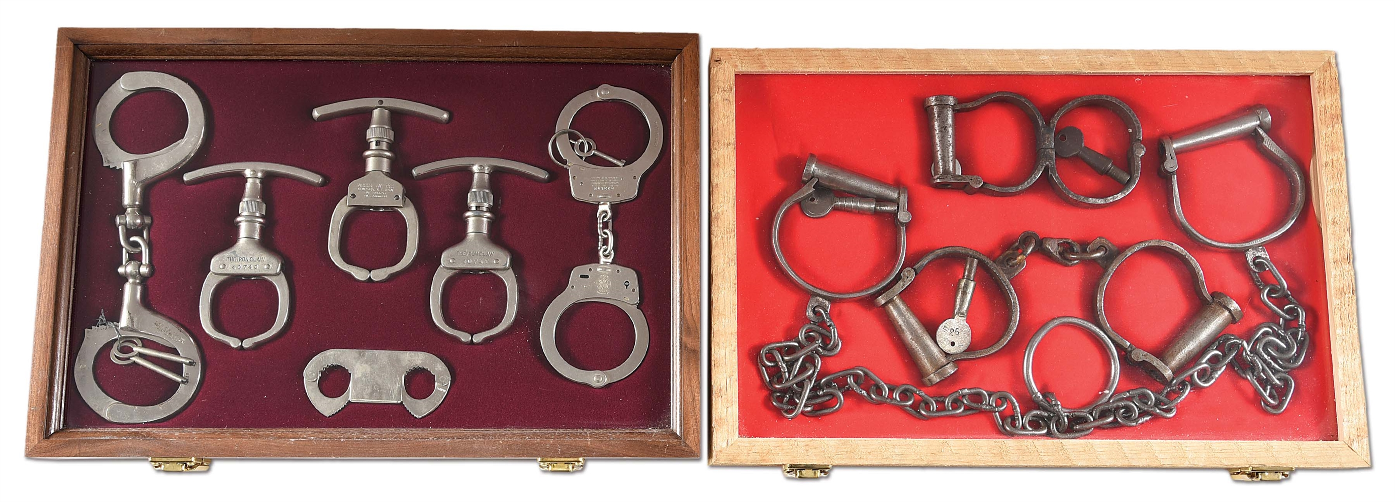 LOT OF 2: DISPLAYS OF VINTAGE HANDCUFFS AND RESTRAINTS.