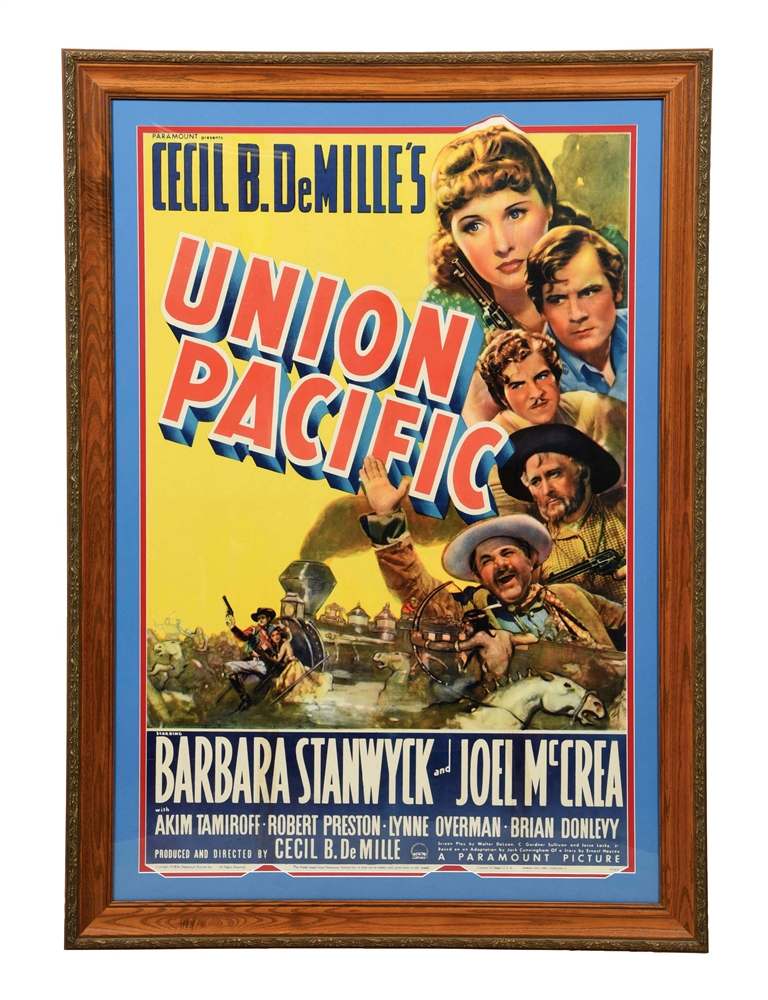 FRAMED UNION PACIFIC PARAMOUNT ADVERTISEMENT.