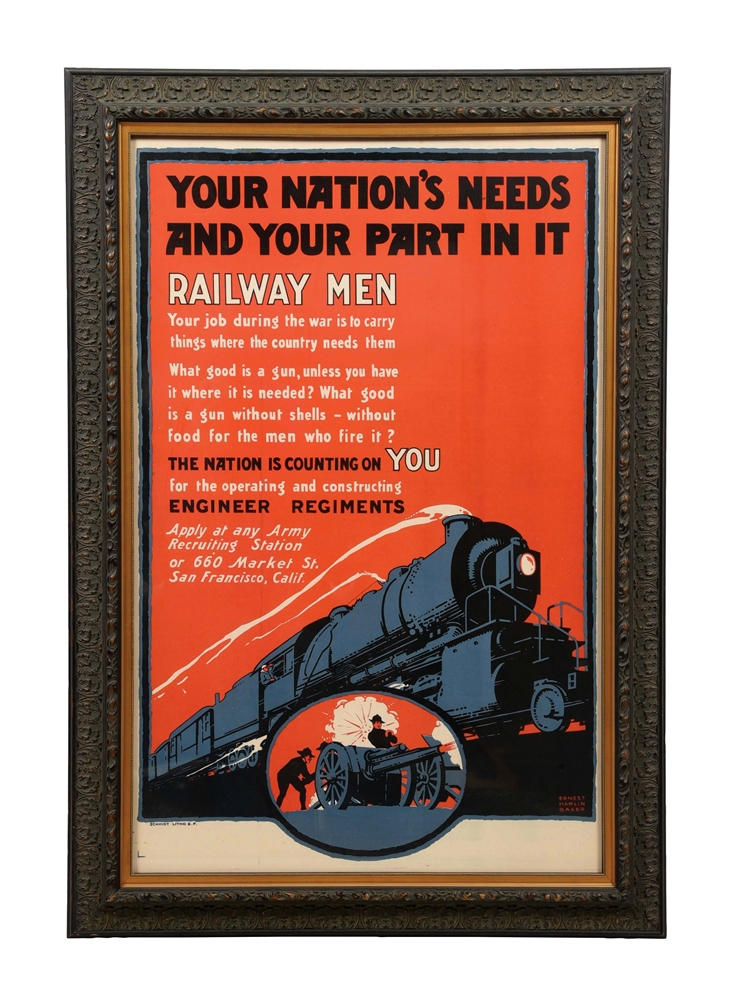 FRAMED RAILWAY MEN POSTER.