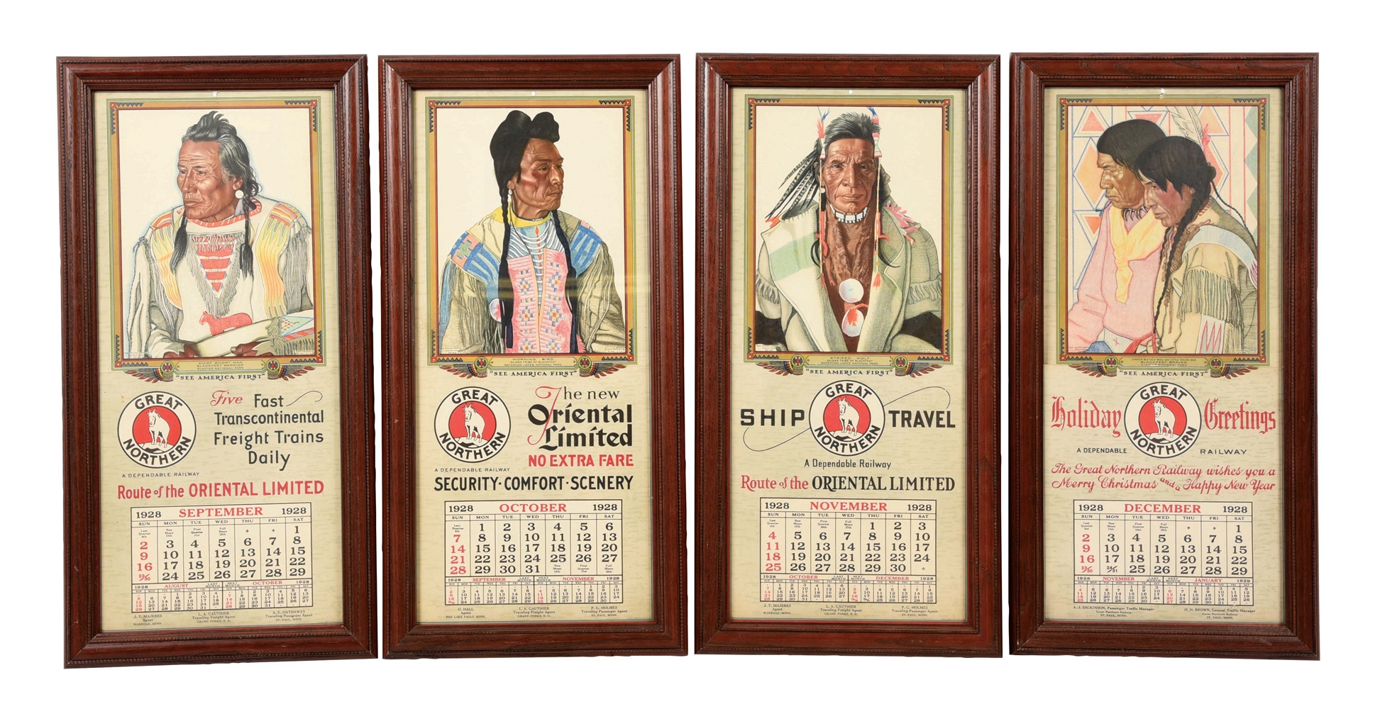 LOT OF 4: 1928 GREAT NORTHERN CALENDARS.