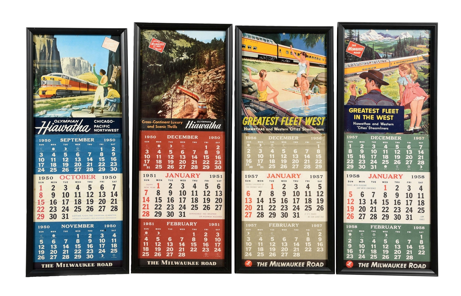 LOT OF 4: 1950, 51, 57, AND 58 MILWAUKE ROAD CALENDARS.