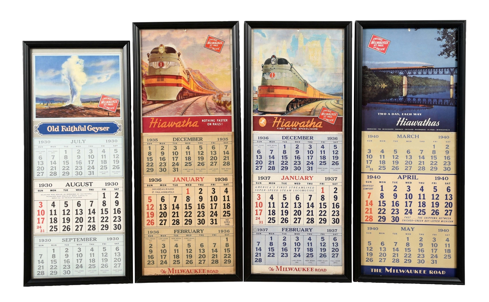 LOT OF 4: 1930, 35, 36, AND 40 MILWAUKEE ROAD CALENDARS.