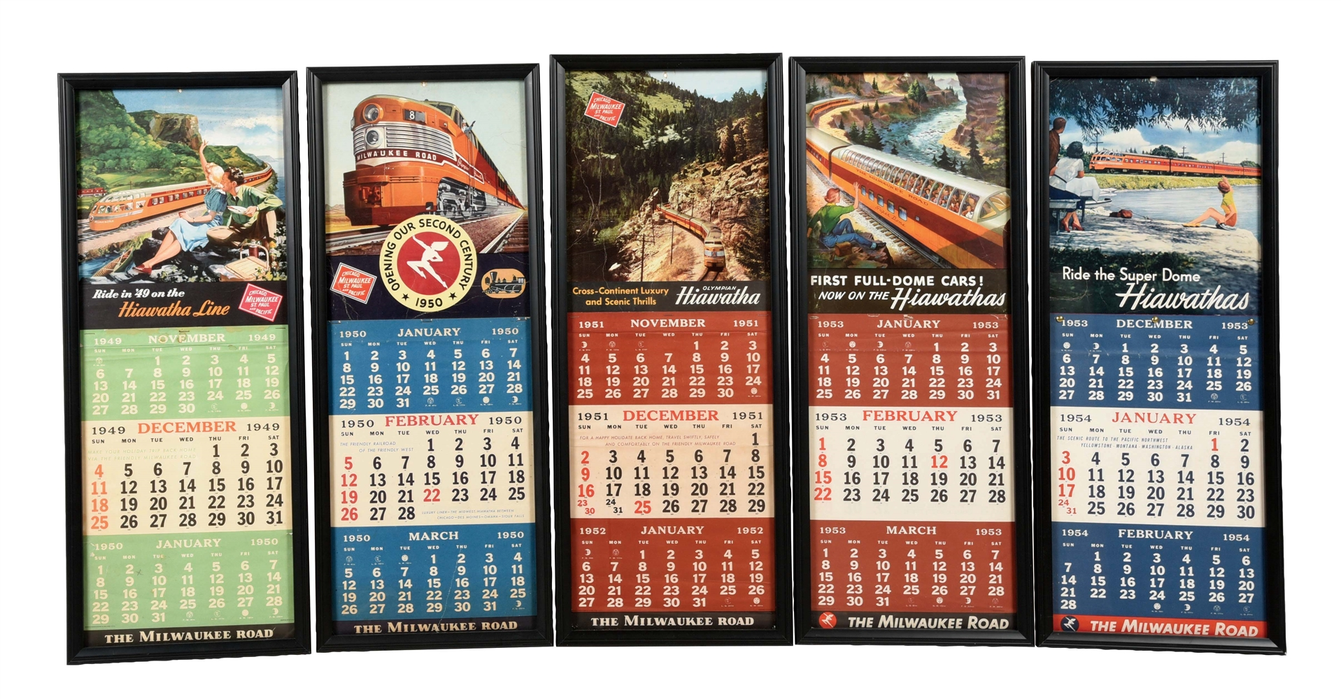LOT OF 5: 1949, 50, 51, AND 53 MILWAUKEE ROAD CALENDARS.