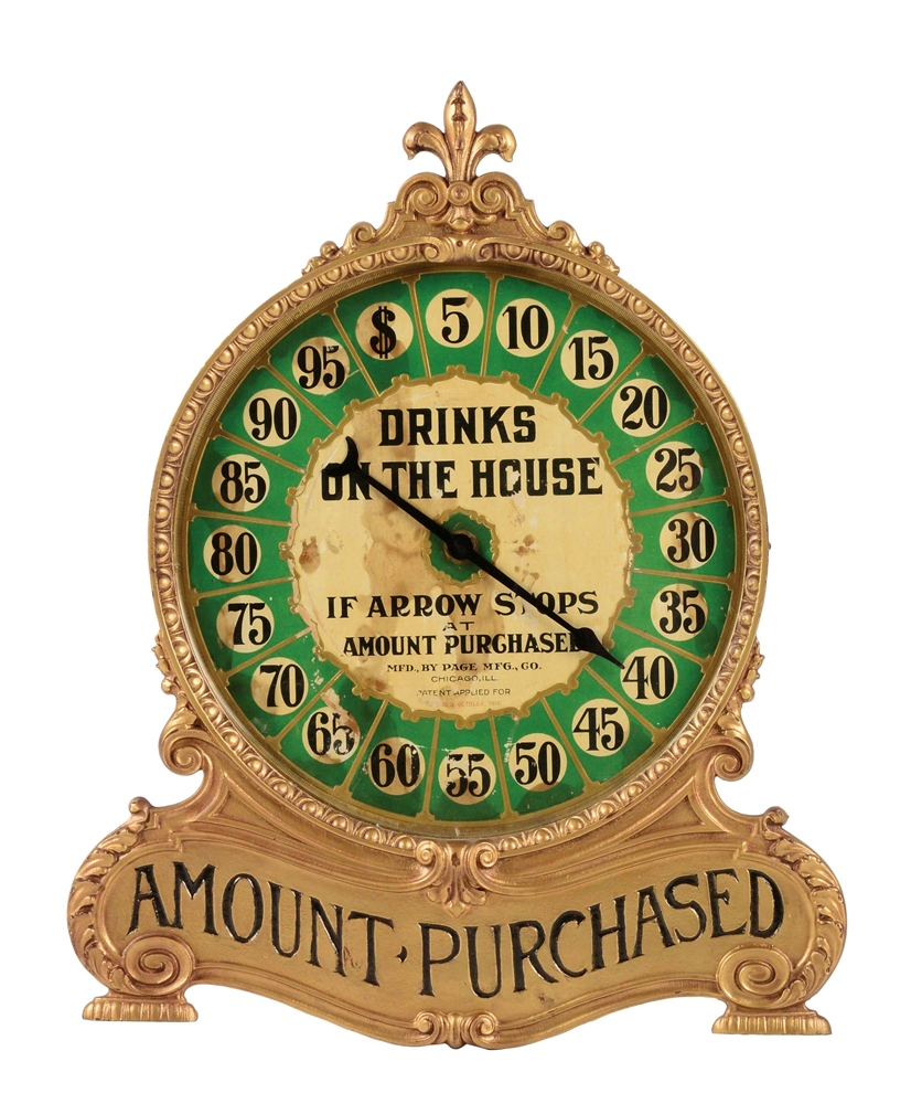 "PAGE MFG CO. ""DRINKS ON THE HOUSE"" TRADE STIMULATOR."
